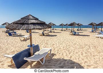 freizeit, touristen, strand, in, portugal., ., ilha, tavira