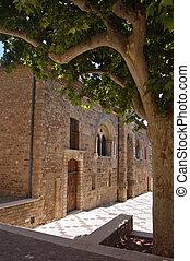 Frejus church wall in shade
