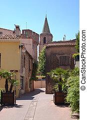 Frejus lane and church tower