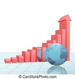 frelser graph, kort, oppe, avis, pil, jord, fremmarch