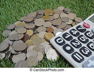 frelser penge, by, investering, begreb, hos, regnemaskine