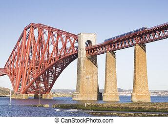 frem, skinne bro, ind, edinburgh, scotland