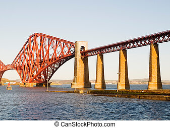 frem, skinne bro, ind, edinburgh