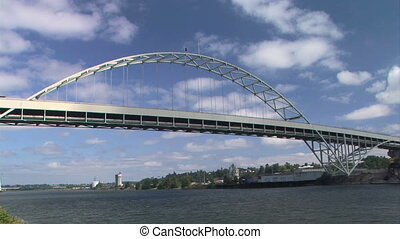 Fremont Bridge - Fremont bridge, a steel tied arch bridge,...