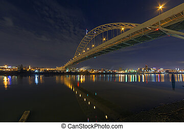 Fremont Bridge Over Willamette River at Night