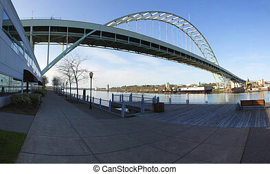 Fremont bridge panorama, Portland OR. - A perspective...