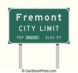 Fremont City Limit road sign