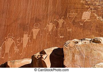 fremont, cultura india, petroglyph, en, el, parque nacional,...