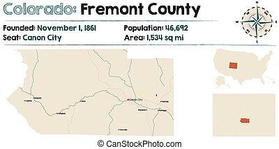 fremont, mapa de colorado, condado