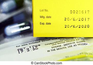 fremstilling, dato, og, expiry, date.