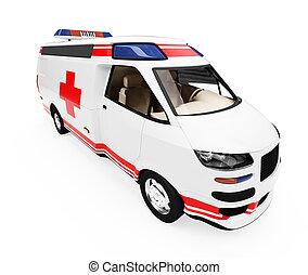 fremtid, begreb, i, ambulance, lastbil, isoleret, udsigter
