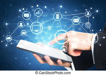 fremtid, begreb, teknologi