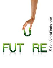 fremtid, -, hånd