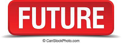 fremtid, rød, 3, firkantet, knap, isoleret, på hvide, baggrund