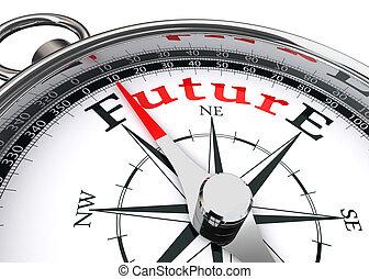 fremtid, retning, begrebsmæssig, kompas