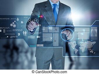 fremtid, teknologi, fremvisning