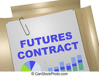 fremtider, kontrakt, -, begreb branche