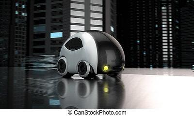 fremtidsprægede, automobilen, konstruktion, -, 3, illustration