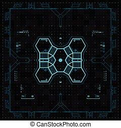 fremtidsprægede, grafik, bruger, interface.