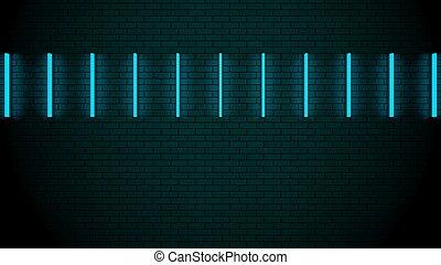 fremtidsprægede, neon lyser, på, muren