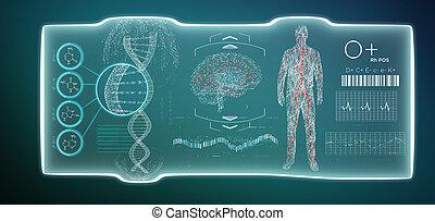 fremtidsprægede, skabelon, medicinsk, grænseflade, hud, isoleret, på, en, baggrund
