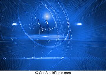 fremtidsprægede, skinnende, cirkler