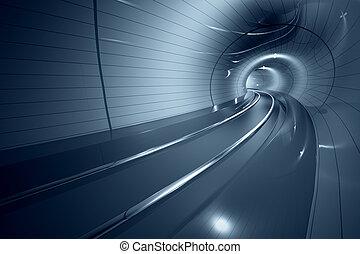 fremtidsprægede, underjordisk, tunnel.