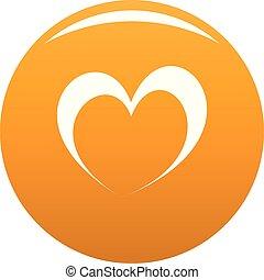 frenético, corazón, icono, vector, naranja