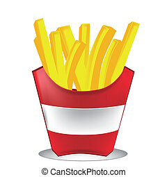 frenc fries - yellow french fries in a classic bag in white...