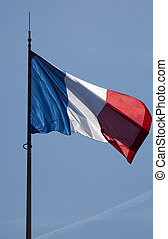 frence flag with blue sky