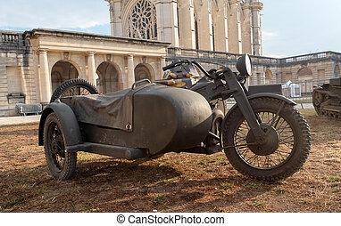 french, 摩托车, 军方, 老