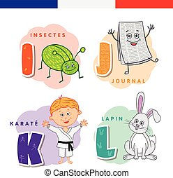 French alphabet. Insect, newspaper, karate, rabbit. Vector letters and characters.