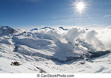 Ski resort La Plagne - French Alps, Savoy - valley in sunny weather
