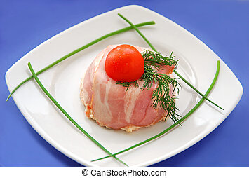 French appetizer - pate, terrine with bacon