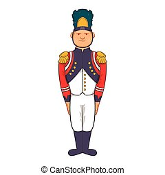 French Army soldier in uniform icon, cartoon style
