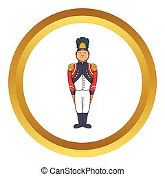 French Army soldier in uniform vector icon