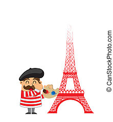 french artist - cartoon french artist with tower eiffel over...