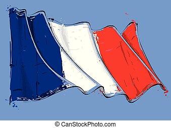 French Artistic Brush Stroke Waving Flag