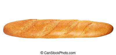 French baguette horizontally isolated on white background