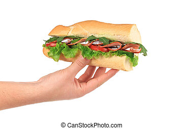French baguette sandwich in hands. Isolated on a white background.
