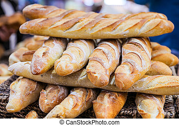 French baguettes. Fresh bread Arranged for sale in the market.