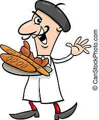 Cartoon Illustration of Funny French Baker or Cook with Croissant and Bread