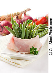 French Beans with wrapped ham