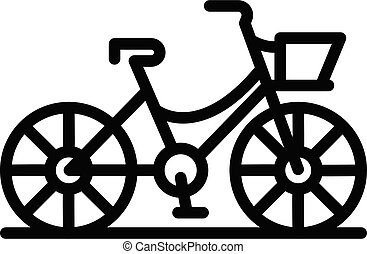 French bicycle icon, outline style