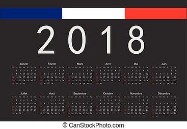 French black 2018 year vector calendar
