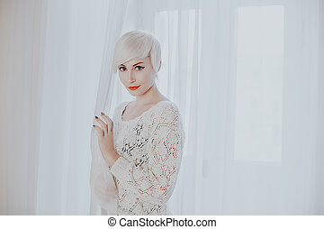 French blonde in a white room fashion - French blonde in a ...