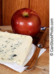 French blue cheese and red apple. - Bleu d'Auvergne cheese ...