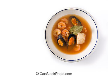 French bouillabaisse soup in white plate isolated on white ...