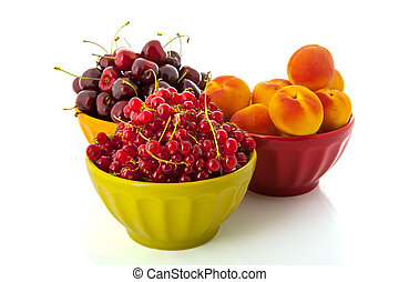 French bowls with fresh fruit