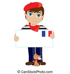 French Boy Sign - A little boy is dressed in a traditional...